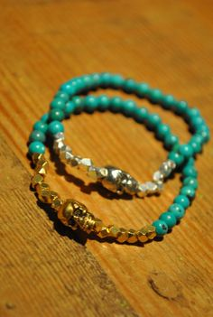 Turquoise and Gold Skull Bracelet by AnonymousAdornments on Etsy, $23.00