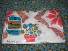 VINTAGE NIP WAMSUTTA SHEET DOUBLE FLAT FLOWERS PINK BLUE ULTRACALE NO IRON