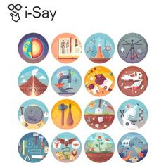 Education and science flat circle icons set