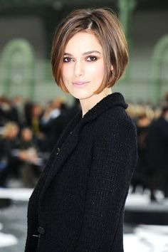 This chic bob is perfect for slimming a round face but looks great on everyone!