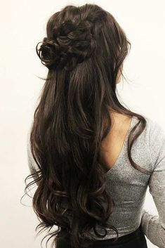 Prom hairstyles long dark hair beautiful dark brown in 2019 shop luxy hair Quince Hairstyles, Formal Hairstyles For Long Hair, Braided Hairstyles, Hairstyles Haircuts, Dark Brown Hairstyles, Updo Hairstyle, Braided Updo, Easy Updo, Long Hair Half Updo