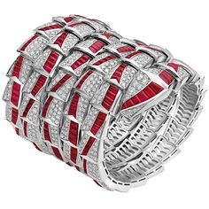 Ruby and diamond Serpenti cuff bracelet showing a more traditional combination of stone colours.