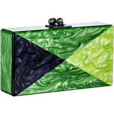 Edie Parker Kelly Green Pearlescent Triangles Jean Clutch (7.590 VEF) ❤ liked on Polyvore