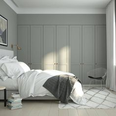 Top Modern Bungalow Design - Cozy bedroom with A. ENSIÖ wardrobe doors on IKEA PAX cabinet frames. PARASOL handles in copper. Source by antipodream Ankara Nakliyat Ikea Pax Wardrobe, Bedroom Wardrobe, Wardrobe Doors, Built In Wardrobe, Wardrobe Ideas, Wardrobe Handles, Wardrobe Closet, Pax Closet, Closet Wall