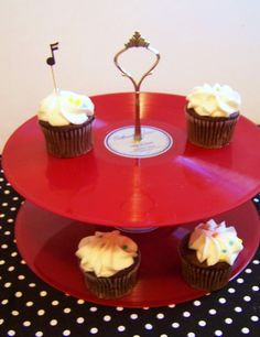 Retro Red Record Dessert 2 Tier Pedestal Cake Cupcake Stand
