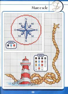 Mare e sole lighthouse/nautical - plastic canvas cross stitc Cross Stitch Sea, Cross Stitch Needles, Cross Stitch Flowers, Cross Stitch Kits, Cross Stitch Charts, Cross Stitch Designs, Cross Stitch Patterns, Cross Stitching, Cross Stitch Embroidery