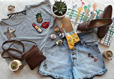 Novelty Girl :) It's Just Your Luck mini succulents R45 - R65 Prism clear glasses - R240 Good Luck Club sequin patch tee - R220 Decades leather sling bag - R130 Clementine mini tins - R18 Feat cat socks - R90 Pereira denim shorts - R220 Alice D junk food perspex badges - R50 Clementine painting - R250 Pereira vintage shoes - R196 (30% off) Photo creds @tlnaysmith