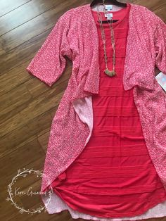 Over 150 LuLaRoe Outfit ideas posted! Including this textured Carly Swing dress and Shirley Kimono! Come check them out at shopkerriguimond.com!!