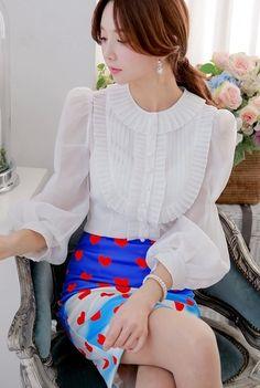 Morpheus Boutique  - White Chiffon Ruffle Vintage Style Long Sleeve Shirt