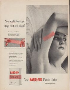 "Description: 1952 BAND-AID vintage print advertisement ""New plastic bandage"" -- New plastic bandage stays neat and clean! New Band-Aid Plastic Strips. Johnson & Johnson -- Size: The dimensions of the full-page advertisement are approximately 10.5 inches x 14 inches (27 cm x 36 cm). Condition: This original vintage full-page advertisement is in Very Good Condition unless otherwise noted."