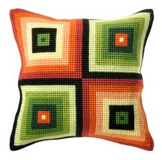 Squares Cushion Front Chunky Cross Stitch Kit | sewandso