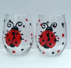 Red and Black Whimsical Ladybug Set of Two Lady Bug Hand Painted spring polka dotted 20 oz Stemless Wine glasses