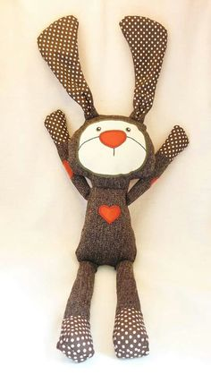 <3 cute easter bunny plushie toy design from recycled socks or sweaters love bunny cute little gift to make