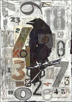 Fine Art PRINT Illustration Raven Crow Gift Collage Mixed Media Painting By Mirel E.Ologeanu