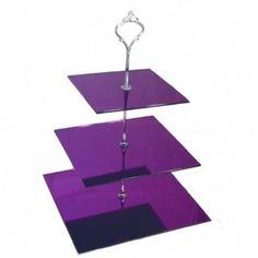 Large 3 Tier Purple Mirror Acrylic Square Cake Stand