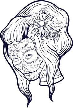 Simply download and print either this white and black free advanced coloring sugar skull, or enjoy the already colorful free printable sugar skull!