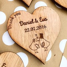 Wooden Heart Custom Save The Date / Thank You Wedding Favour Magnets