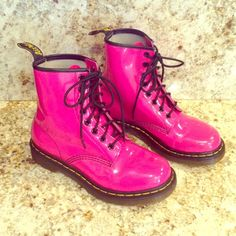 HP 10.23.15DOC MARTENS HOT PINK BOOTSNEW These Awesome Boots are New,w/o box,never worn..just have minor blemish on left toe,and very light discoloration on left toe and inner side of left boot,came from factory that way,I believe,as they've never been worn,but these things are not too noticeable.They are Hot Pink Patent Leather! Doc Martens Shoes Combat & Moto Boots
