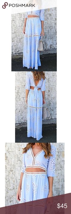 2 piece maxi skirt outfit BEAUTIFUL 2 piece blue summer outfit. It includes a crop top and skirt. It's currently available in Small and Large. Please choose your size  Other