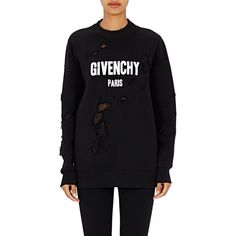 "Givenchy Women's ""Givenchy Paris"" Destroyed Sweatshirt ($1,250) ❤ liked on Polyvore featuring tops, hoodies, sweatshirts, black, oversized sweatshirts, oversized tops, crewneck sweatshirt, givenchy sweatshirt and chiffon tops"