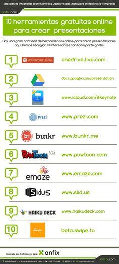 10 herramientas online gratuitas para crear presentaciones #infografia #infographic #marketing