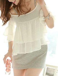 Sweet Style Flare Sleeve Spaghetti Strap White Flounced Blouse + Gray Sundress Twinset For Women