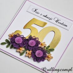 50th birthday, quilling, greeting card, handmade, Quilling.com.pl