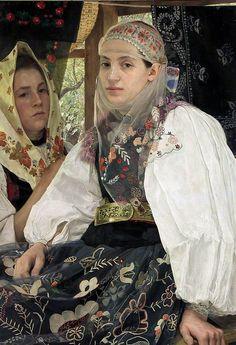 Madame de Pompadour (Women from Burzenland, Transylvannia by Arthur. Country Wear, Country Dresses, Folk Costume, Costumes, Romanian Women, Folk Fashion, Fashion History, Traditional Dresses, Vintage Outfits