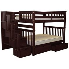 Shop for Bedz King Stairway Bunk Beds Full over Full with 4 Drawers in the Steps and 2 Under Bed Drawers, Cappuccino. Get free delivery On EVERYTHING* Overstock - Your Online Furniture Outlet Store! Get in rewards with Club O! Bunk Bed King, Safe Bunk Beds, Full Bunk Beds, Kids Bunk Beds, Loft Beds, Under Bed Drawers, Bunk Beds With Drawers, Bunk Beds With Stairs, Trundle Bed With Storage