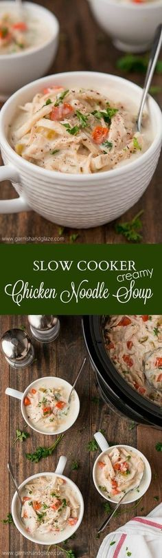 Add a little bit of homemade goodness to your life with this Slow Cooker Creamy Chicken Noodle Soup! #Reames #HomemadeGoodness #ad