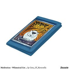 Meditation - Whimsical Cat Art Tri-fold Wallet by Dora Hathazi Mendes. Cats knows best when is about meditation, relaxing mind and body. They exactly know when to switch off the engine, and when they need to recharge the batteries. Purring, is their feline version for chanting, and although we don't know exactly why they do it, the effect is obvious, the whole world calm down around them, even us just being in their aura, and listening their monotone chant. Cat Paintings by #dorahathazi
