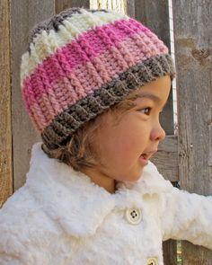 CROCHET PATTERN - The Neapolitan - a hat with stripes & button in 5 sizes (Infant, Baby, Toddler, Child, Adult) - Instant PDF Download