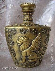Декор предметов Аппликация из скрученных жгутиков Лепка Охотничья бутылка моя африканская фантазия и еще пейп-арт Бутылки стеклянные фото 17