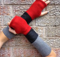Black, grey and red fingerless gloves, Upcycled arm warmers, made from recycled wool sweaters