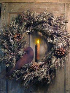 Wreath On Door With Primitive Crow...