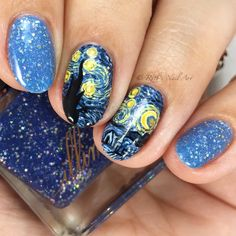 """""""Starry Night"""" by Illimité from the Van Gogh Collection #ruthsnailart #nailart"""