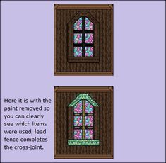 How to build a fancy window : Terraria Terraria House Design, Terraria House Ideas, Terraria Tips, Minecraft Statues, Minecraft Houses, Building Design, Building Ideas, Biomes, Window Design