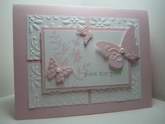 Bridal Shower Cricut Card Ideas | Just Believe embossed butterflies card