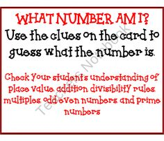 What Number Am I?  Math Game product from Mrs-Ps-ideas on TeachersNotebook.com