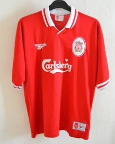 Vintage Liverpool FC Home Football Shirt XL 44 -46  1996 Reebok Carlsberg Rare