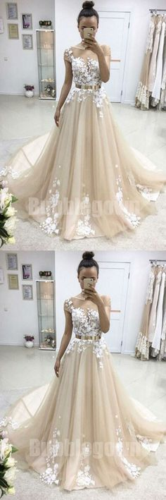 Cap Sleeves Tulle Applique Charming Cheap Long Evening Prom Dresses, BGP041