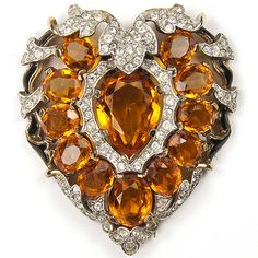 Trifari 'Alfred Philippe' Pave Topaz and Enamel Heart Pin Clip. c 1941