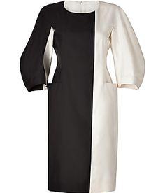 JILL SANDER | Cream/Black Colorblock Silk Dress | stylebop.com
