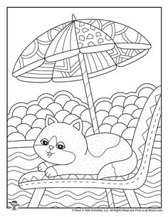 Cute Summer Adult Coloring | Woo! Jr. Kids Activities Ocean Coloring Pages, Summer Coloring Pages, Coloring Book Pages, Coloring Pages For Kids, Sunny Day Pictures, Colorful Pictures, Digital Drawing, Student Crafts, Drawing For Kids