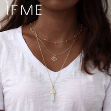 IF ME Multilayer Necklace for Women Long Chain Turkish Eye Pendant Necklaces Trendy Natural Opal Stone Necklaces Jewelry Girl(China)