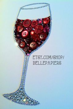 Button Art Wine Glass Decoration Red Wine Art by BellePapiers