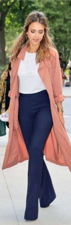 Who made Jessica Alba's pink coat, white top, blue flared jeans, and jewelry?
