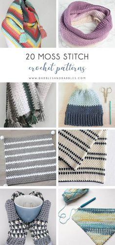 The moss stitch is a popular crochet stitches (aka granite stitch and linen stitch) These crochet stitch patterns are easy, colorful, and worth your time. Different Crochet Stitches, Easy Crochet Stitches, Crochet Basics, Crochet Patterns, Stitch Patterns, Afghan Patterns, Crochet Tutorials, Crochet Projects, Moss Crochet Stitch