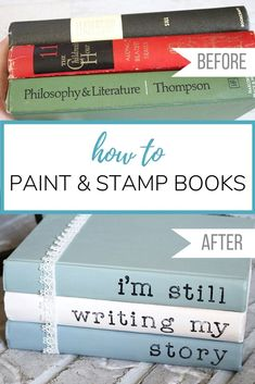 Painted books with sayings are a super easy addition to your home decor! This DI.Painted books with sayings are a super easy addition to your home decor! This DIY with chalk paint and acrylic stamps is a thrifty way to use old book. Diy Tumblr, Easy Home Decor, Cheap Home Decor, Fun Craft, Farmhouse Books, Farmhouse Decor, Country Farmhouse, Shabby Chic Vintage, Tips & Tricks