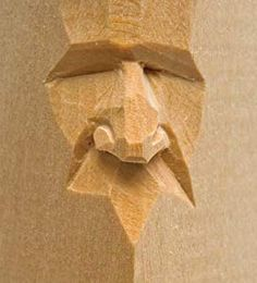 """Harold Enlow - Nose, from """"Carving Faces Workbook"""" (wood) 2011 . Harold Enlow – Nose, from """"Carving Faces Workbook"""" (wood) 2011 # Fac Simple Wood Carving, Wood Carving Faces, Wood Carving Designs, Wood Carving Patterns, Wood Carving Art, Whittling Projects, Whittling Wood, Wood Carving For Beginners, Dremel Carving"""
